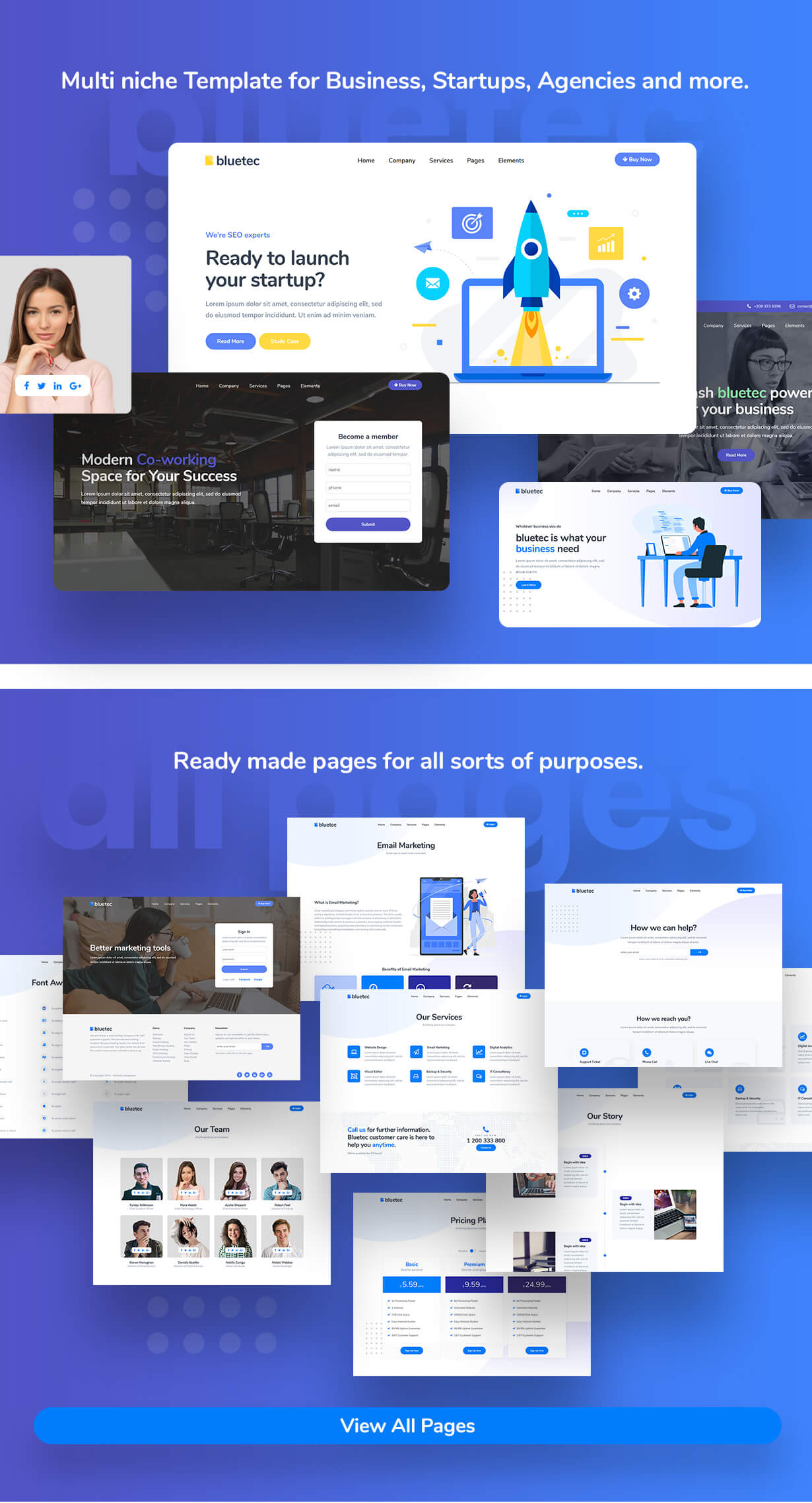 Bluetec - Saas IT Software Startup Landing Page Template - 1